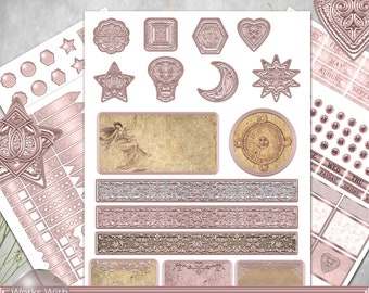 Printable Rose Gold Planner Stickers Erin Condren, ECLP Stickers, Planner Sticker kit, Glitter Stickers, Sun Moon Stars stickers.