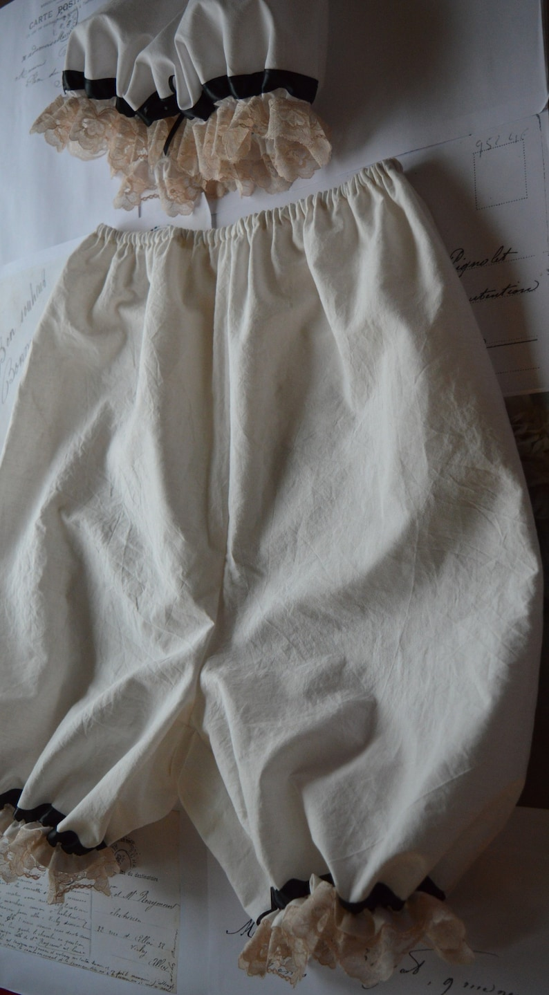 ruffled bloomers and mop cap Old-time bloomers /& mop cap set ivory white bloomers and mop cap ruffled cotton bloomers and mop cap