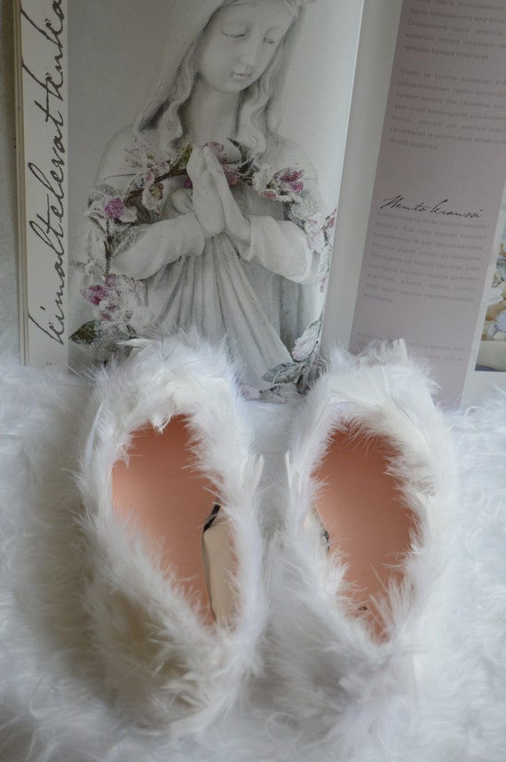 Weiße Feder Ballerinas, weißer Engel Kostüm Schuhe