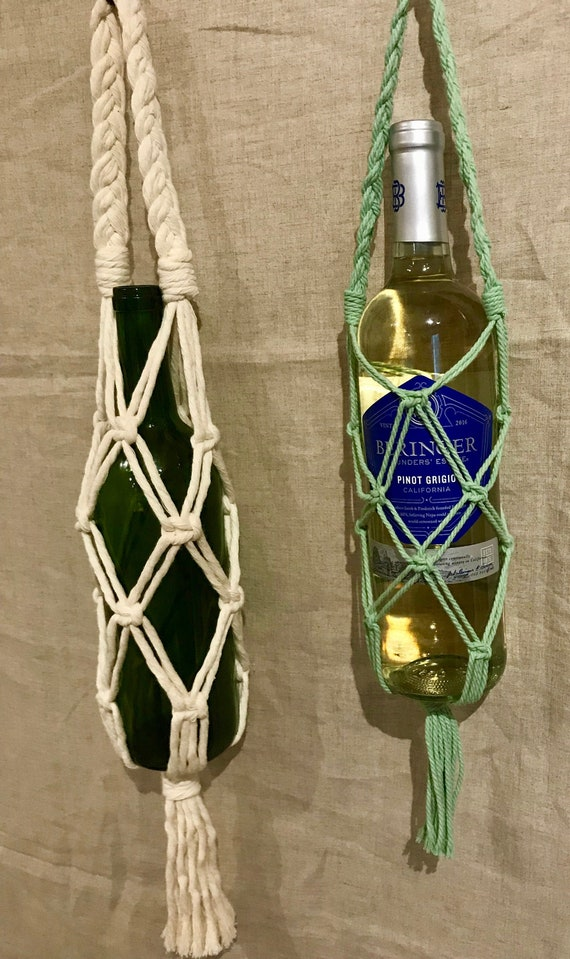 Macrame Wine Tote Bag Carrier  Bottle Holder  Gift Bag