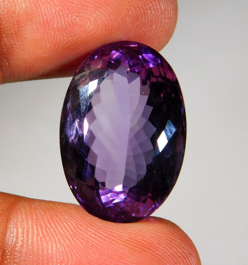 Grade Quality Natural Amethyst Quartz Faceted Cut Oval Cabochon  17x25x13MM Approx Loose Gemstone Silver Jewelry Making 37.CT AAA++