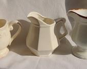 Set of 3 IVORY IRONSTONE CREAMERS Beige Ceramic Creamers MixMatch Coffee Pitchers