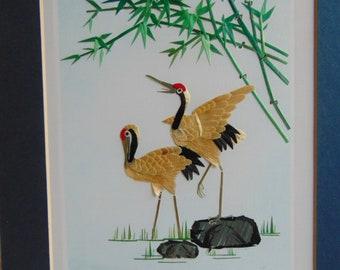 8x10 inches Cranes Copper Art