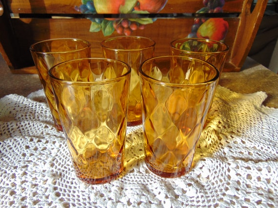 Vintage Juice Glasses Set of 5 Amber OPTIC ANCHOR HOCKING Juice Glasses  Retro Kitchen Glassware Beautiful