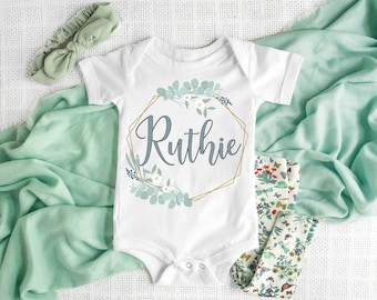 dacd0817218dc Personalized baby girl Onesie®, Custom baby Onesie®, coming home outfit,  newborn gift, take home outfit, baby shower gift, flower wreath
