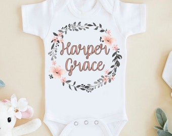 927bfb32be4f8 Personalized baby girl Onesie®, Custom baby Onesie®, coming home outfit,  newborn gift, take home outfit, baby shower gift, flower wreath