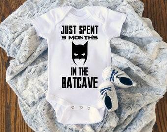 6040fa7d8 Superhero Onesie, Just Spent 9 Months in the Batcave, Batman Onesie, Baby  Shower Gift, Baby Announcement, Superhero Bodysuit, Batman