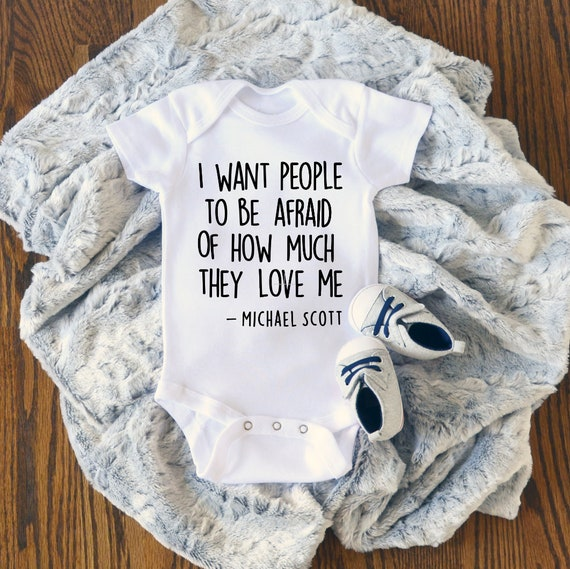 The Office Baby Clothing Baby Shower Gift THE OFFICE Onesie\u00ae I Want People to be Afraid of How Much they Love Me Michael Scott Onesie\u00ae