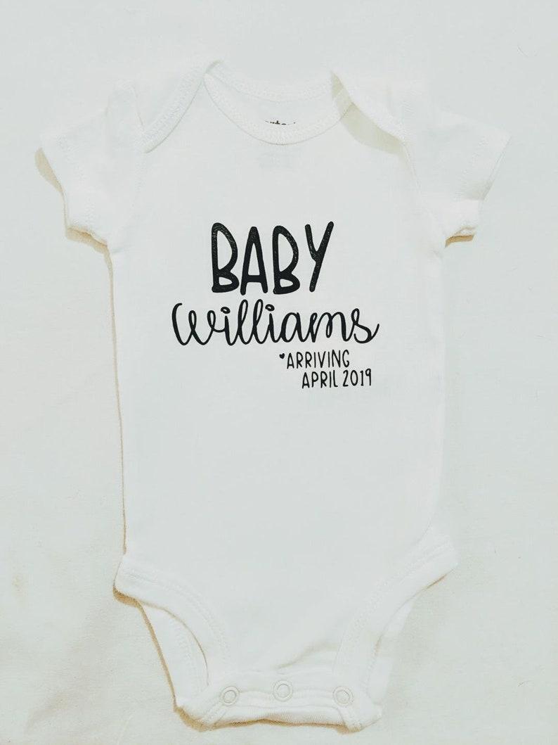 Baby Announcement Onesie Pregnancy Reveal Baby Onesie Announcement Baby Onesie Pregnancy Announcement Onesie Personalized Baby Onesie