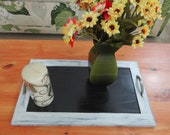 Farmhouse accent tray, Rustic distressed wood, wood Ottoman tray, housewarming gift