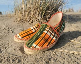 Original, mixed, hand-stitched Kwasi wax espadrilles