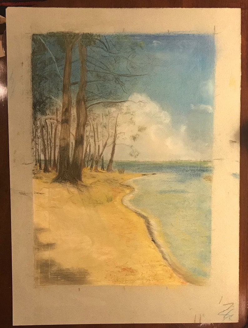 1960s Pastel of the French Coast