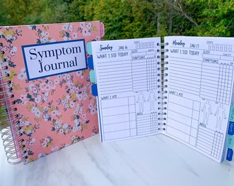 Dated Spiral Symptom Journal, Daily Chronic Illness Pain Diary Log for Spoonies, Customizable