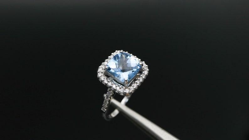 Square Blue Topaz Ring November Birthstone Ring Blue Topaz Ring Gemstone Ring