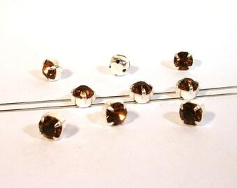 15 Stück #P155 5mm Glas Aufnähsteine // Strasssteine Crystal AB gefasst