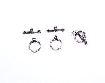 Verschluss Knebelverschluss 23x18mm Silber 3 Stück #A00442
