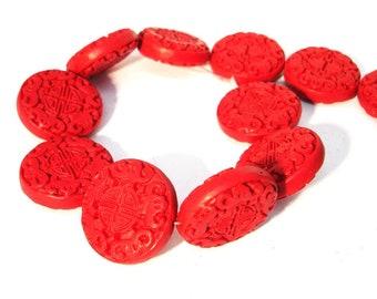 Zinnober rot 3 Stück #ED70P rondell Chinesische Lackperlen Cinnabar 24mm
