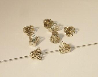 10 Stück #Z127//1 Endkappen Perlenkappen-Verbinder 6x5mm Silber