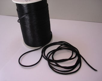 Satin cord, cord cord, 2 mm, black, 5 meters #FM05
