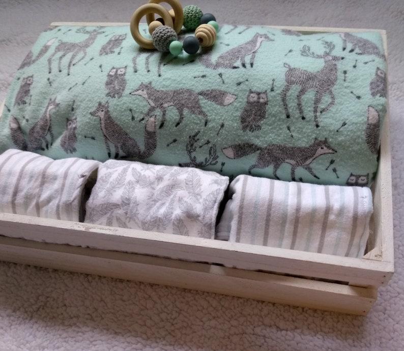 Woodland flannel and sherpa baby blanket Teething ring Newborn blanket Baby gift set burp cloth stroller blanket car seat blanket