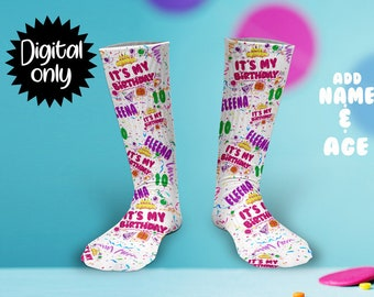 39f1286ce70 It s My Birthday girl Print Sock Sublimation PNG DOWNLOAD--Add Name and Age
