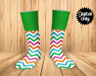 08b367708 Multi Chevron and Green Print Sock Sublimation PNG DOWNLOAD--Add Name and  Age