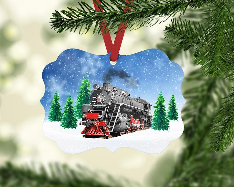 Steam Train Winter Ornament Design Sublimation Template PNG file download