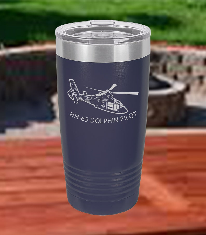 Aircrew Gift 20 Oz Coffee Tumbler HH-65 Dolphin Helicopter Pilot Gift