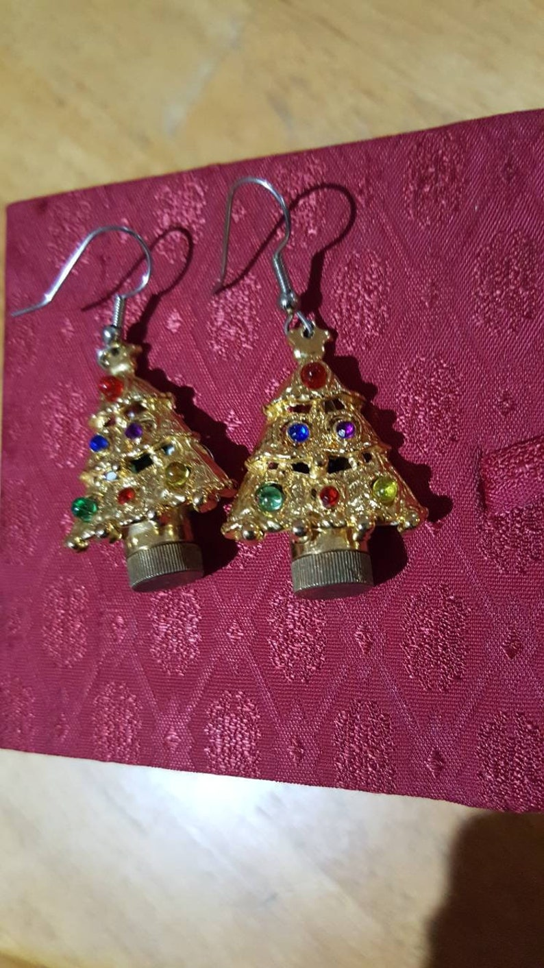 d27f4af6c5146 Vintage Christmas tree dangle pierced earrings with blinking ornament  lights. They Work!!