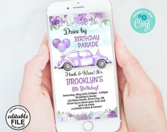 Drive By / Birthday Parade / Invitation / editable / Party / INSTANT access / Party / Drive by Parade / purple / baby / girl /Car7/ 103