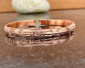 Pure solid 100% Copper Handmade Bangle Bracelet - Pack of 1 bracelet - Om Namah Shivaya - Adjustable Copper bracelet