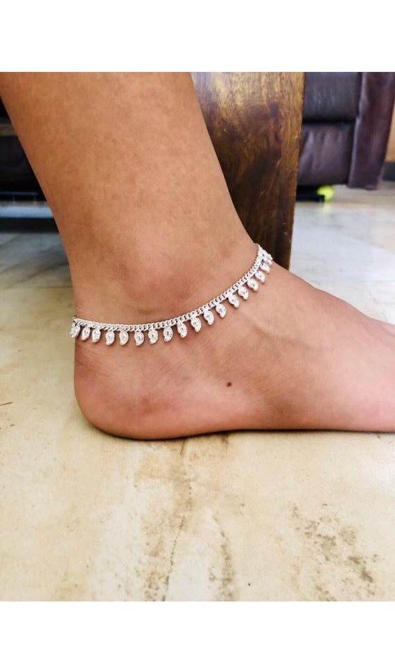 Stunning Diamante Anklet Bollywood Indian wedding Payal Diamonte foot Chain