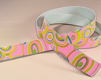 Leather Belt Blank Webbing Carrying Strap, 70s Retro Style, 125 cm long