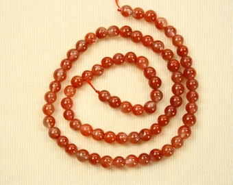 Chalcedony beads - orange red brown - loose & drilled - 74 gemstones for jewelry making - ca. 5.5-6 mm Diameter - Jewellery