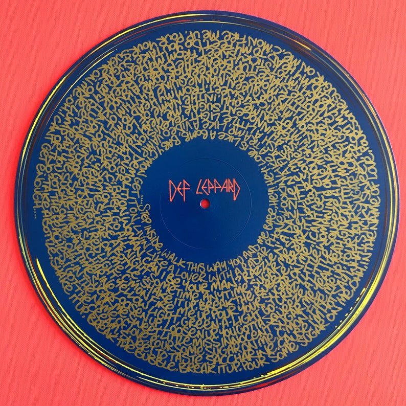 Def Leppard - Pour Some Sugar On Me lyrics hand painted on vinyl by Midge