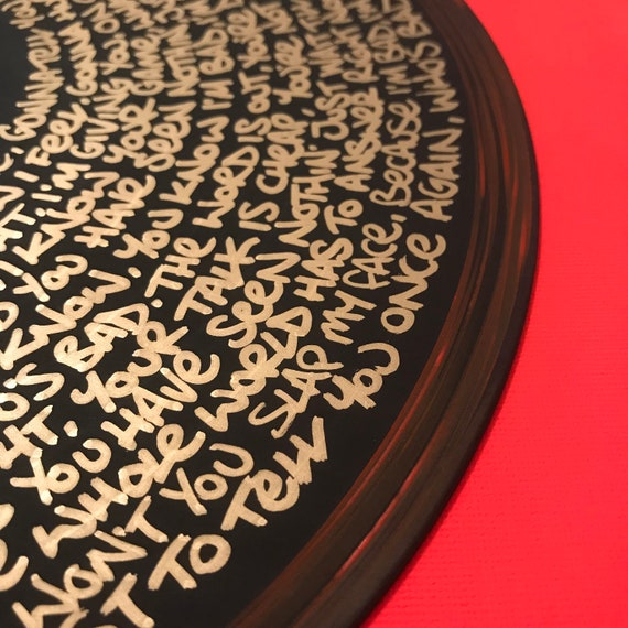 Michael Jackson - Bad Lyrics hand painted on vinyl by Midge
