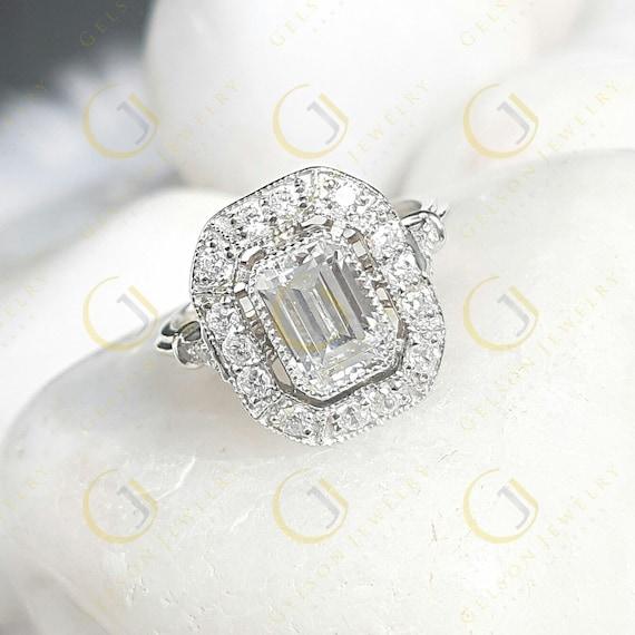 84254bc13 White Emerald Cut Bezel set vintage reproduction vintage style | Etsy
