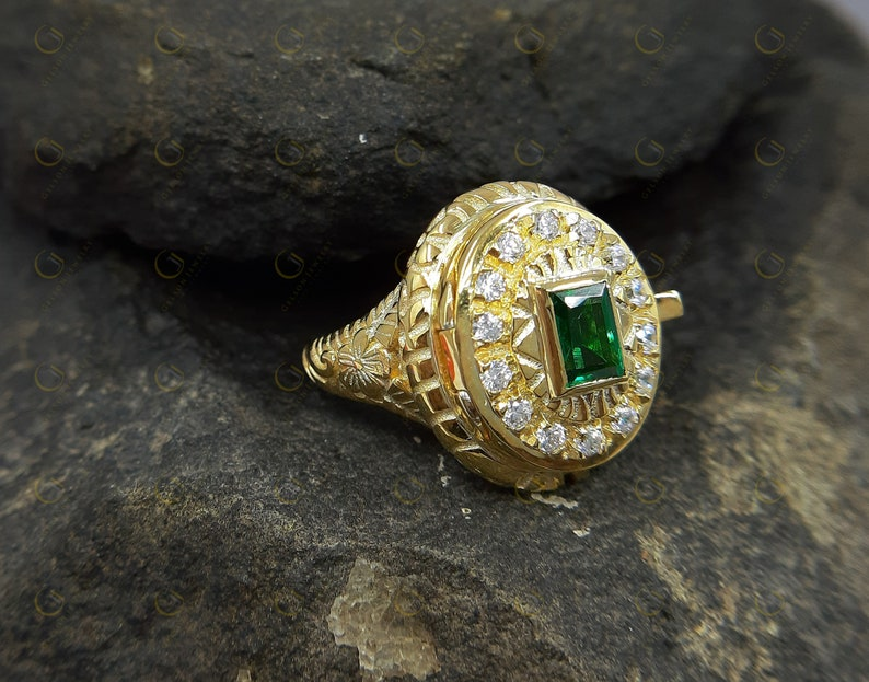 3193f496ac359 1.07 Ct vintage reproduction Secret Poison Locket Ring Antique Vintage Art  Deco Emerald Cut Yellow Rhodium Plated 925 Sterling Silver
