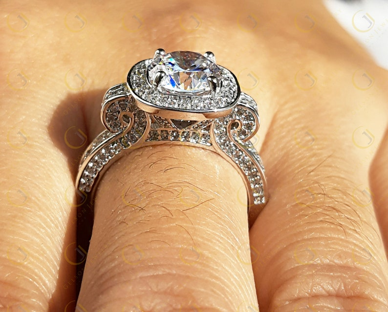 Cocktail halo cushion shape round cut engagement ring for women in 925 sterling silver size 8