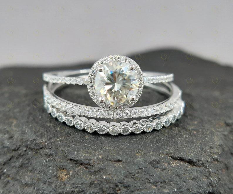 14k Gold Affordable Wedding Ring Set Moissanite Engagement Etsy