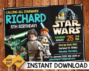 Lego Star Wars Invitations Etsy