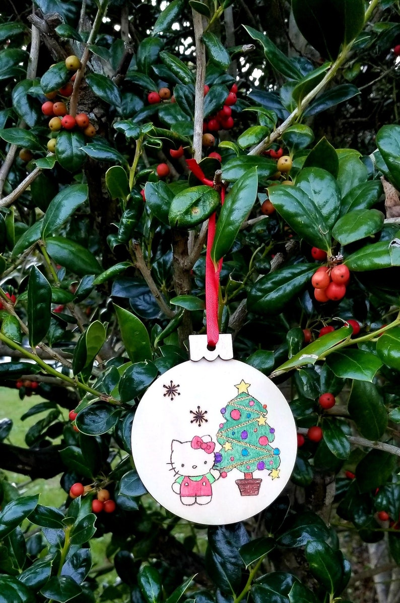 Custom Hello Kitty Christmas Tree Keepsake Cat Ornament Handmade 2019 Wood Burned Unique Personalized Gift For Girl Or Animal Lover