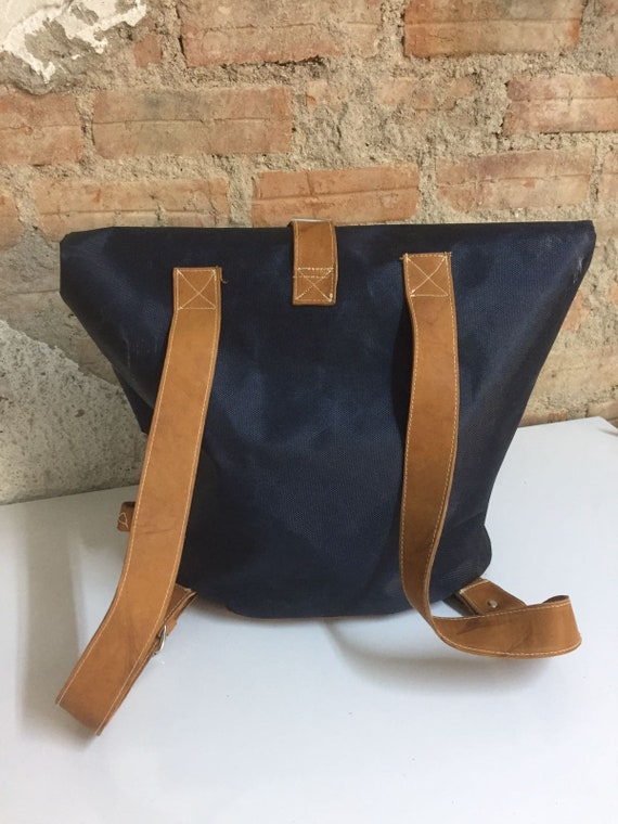 2b7d03266372 Handmade Navy Canvas Backpack with Brown Leather Straps
