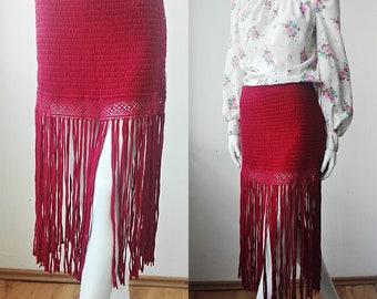 31ed7e9d05 Fringe Skirt Shabby Fringe Skirt, Festival Red Skirt, Bohemian Fringe Skirt,  Crochet Fringe Skirt, Hippie Skirt, Festival Clothing