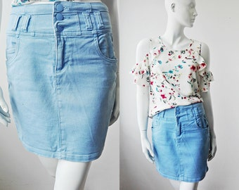 62b9c0f5fe Short Denim Skirt, Size Small 6-8, Light Blue Thick Denim Skirt, Skater  Skirt, Front Pockets Mini Skirt, Blue Mini Skirt