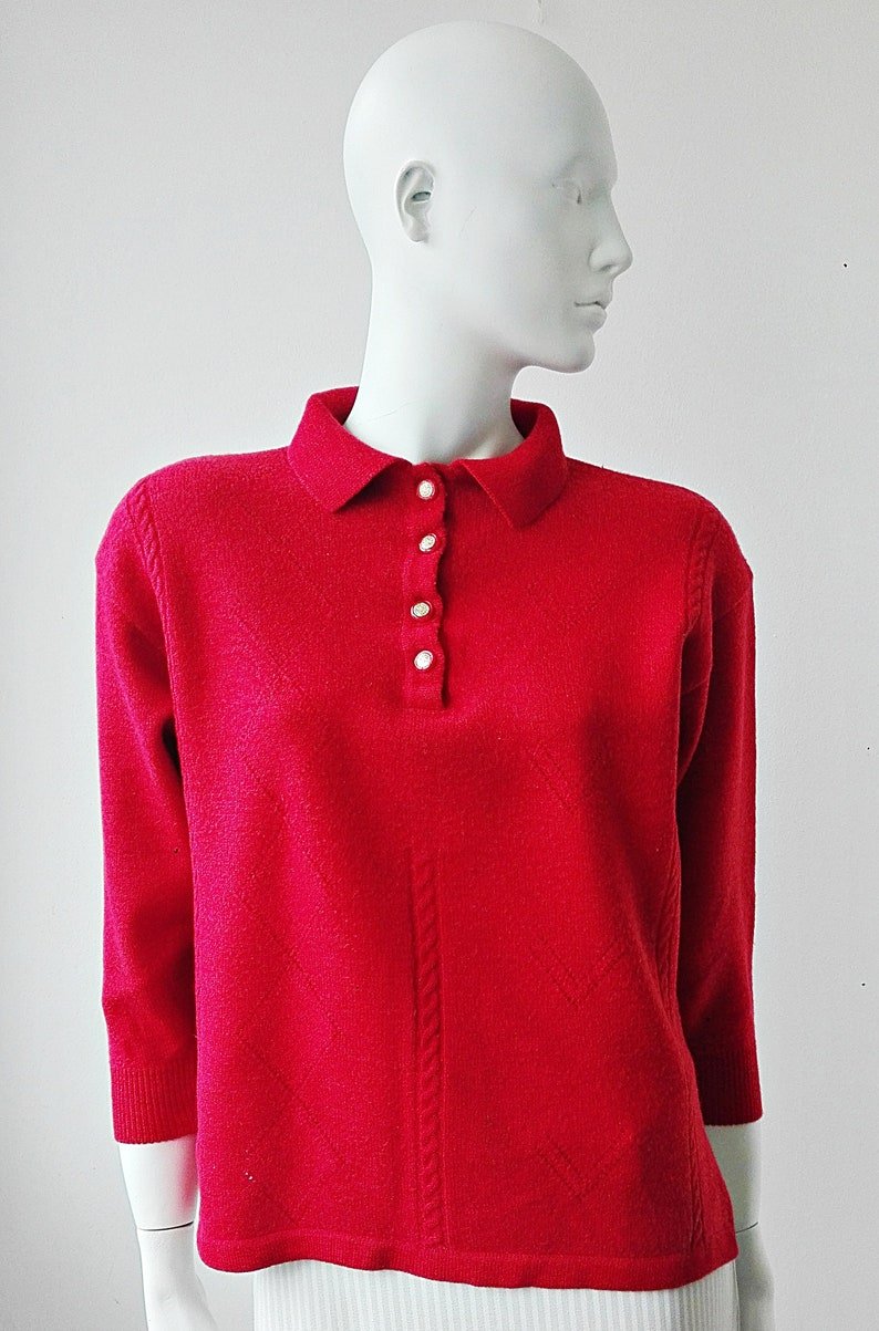 Red Wool Sweater Vintage Wool Collared Sweater with Golden Buttons Red Cropped Vintage Shirt