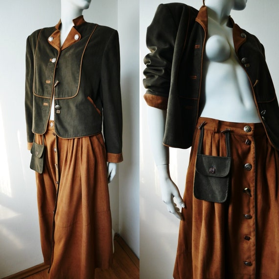 Vintage Austrian Jacket and Skirt Set, 80s Retro S