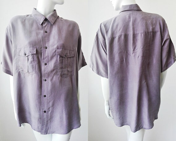 Purple Silk Shirt, Vintage Silk Men's Shirt