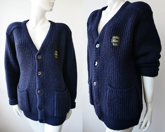 Lacoste Chunky Knit Navy Cardigan for Men, Vintage