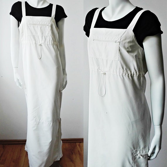 Overall White Maxi Dress, Utility Industrial Jumps